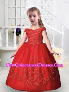 Romantic Off the Shoulder Little Girl Pageant Dresses with Appliques and Beading