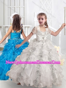 2016 Cute Straps Ball Gown Little Girl Pageant Dresses with Beading and Ruffles