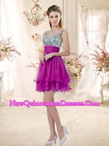 2016 Hot Sale Straps Short Fuchsia New Style Dama Dresses with Sequins