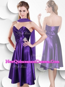 2016 Perfect Empire Sweetheart Elastic Woven Satin Damas Dresses with Beading and Ruching