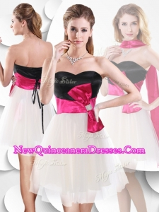 2016 Perfect Short White and Black Dama Dresses with Bowknot