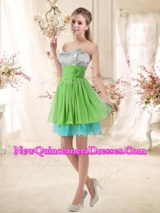 Affordable Sweetheart Short New Style Dama Dresses with Sequins and Belt