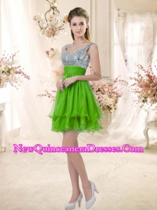 Cheap Straps Short Damas Dresses with Sequins for Fall