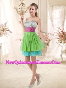 Cheap Sweetheart Short New Style Dama Dresses with Sequins and Belt