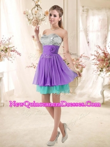 Low Price Sweetheart Short Damas Dresses with Sequins and Belt