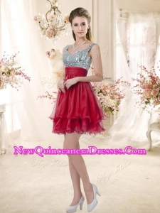 Wonderful Straps Sequins and Ruching Dama Dresses in Wine Red
