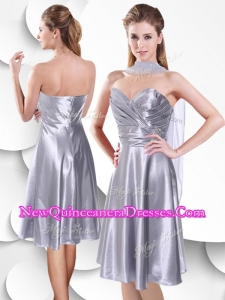 Best Empire Elastic Woven Satin Silver Dama Dresses with Beading and Ruching