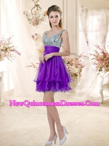 Best Straps Short Purple Quinceanera Dama Dresses with Sequins