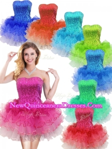 Colorful Strapless Short Dama Dresses with Sequins and Ruffles
