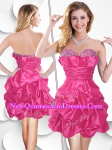 Fashionable Hot Pink Taffeta Dama Dresses with Beading and Bubles