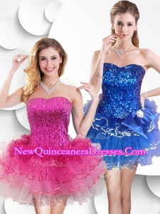 Hot Sale Short Strapless Dama Dresses with Sequins and Ruffles