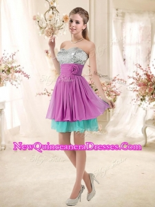 Inexpensive Sweetheart Sequins and Belt Quinceanera Dama Dresses in Multi Color