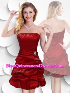 Latest Strapless Taffeta Wine Red Dama Dresses with Bubles