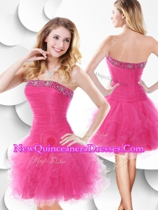 Luxurious Strapless Hot Pink Quinceanera Dama Dresseswith Beading and Ruffles