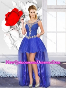 New Style High Low Dama Dresses with Beading for Graduation