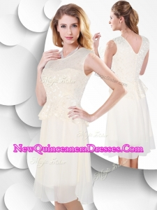 New Style Scoop Knee Length White Dama Dresseswith Lace