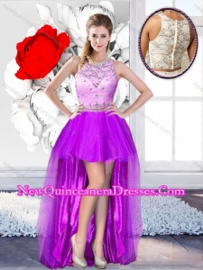 Pretty High Low Scoop 2016 Dama Dresses with Beading