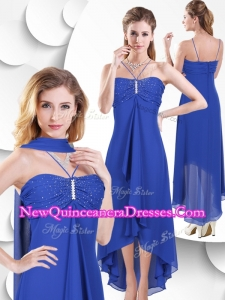 Simple Spaghetti Straps High Low Blue Dama Dresses with Beading