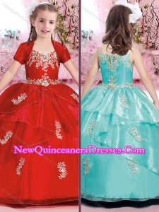 2016 Beautiful Applique and Beaded Little Girl Pageant Dresses with Spaghetti Straps