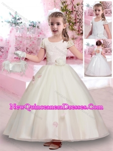 2016 Latest Scoop Short Sleeves Belted Little Girl Pageant Dresses in Lace and Tulle