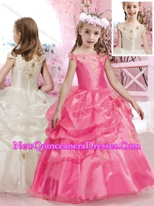 2016 New A Line Off the Shoulder Little Girl Pageant Dresses with Beading and Appliques