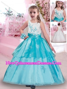 2016 Popular Scoop Applique Little Girl Pageant Dresses in Aqua Blue and White