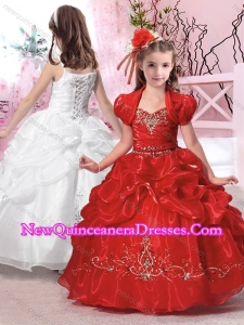 2016 Hot Sale Straps Applique and Beaded Little Girl Pageant Dresses in Organza