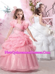 2016 Latest Straps Ball Gown Little Girl Pageant Dresses with Beading and Pick Ups