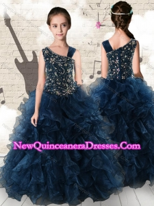 2016 Gorgeous Navy Blue Little Girl Pageant Dresses with Beading and Ruffles