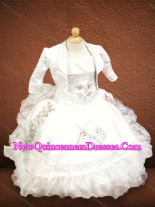 Classical Strapless White Cute Little Girl Pageant Dresses with Embroidery and Ruffles
