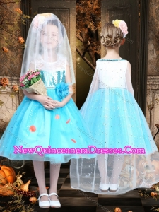 Fashionable Tea Length Scoop Sequined Cute Little Girl Pageant Dresses in Blue and White