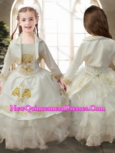 Perfect Ruffled Layers White Cute Little Girl Pageant Dresses with Gold Embroidery