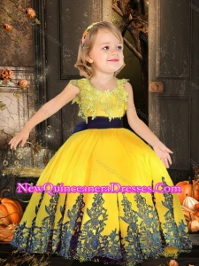 Simple Scoop Tulle Yellow Cute Little Girl Pageant Dresses with Appliques and Belt