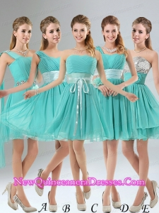 2015 A Line Ruching Lace Up Dama Dresses in Aqua Blue
