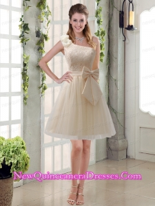 2015 Princess One Shoulder Bowknot Lace Dama Dresses in Champagne