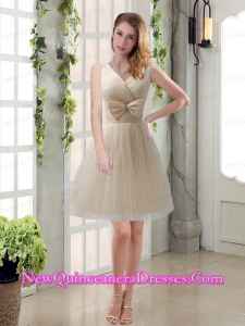 Beautiful Champagne Bowknot Princess Dama Dresses with V Neck