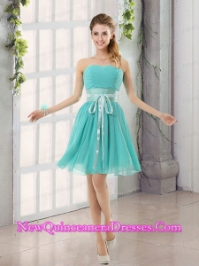 Perfect Belt Ruching Sweetheart A Line Dama Dresses for 2015