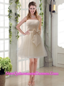 Popular Champagne Strapless Princess Bowknot Dama Dresses for 2015