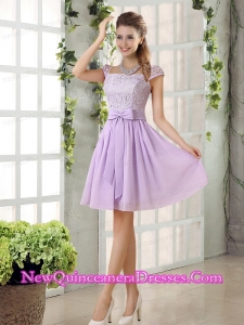 2015 Chiffon Dama Dresses with Ruching Bowknot