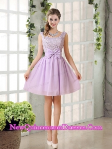 2015 Most Beautiful Chiffon A Line Dama Dresses with Bowknot