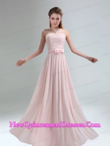 2015 Most Popular Light Pink Empire Dama Dresses with Bowknot Belt