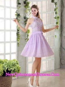High Neck Lilac A Line Lace Dama Dresses Chiffon for 2015