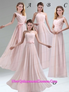 Most Beautiful Chiffon Light Pink Empire Dama Dresses with Ruching