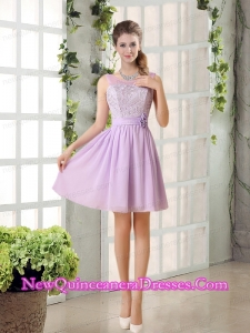 Perfect Dama Dresses Ruching with Hand Made Flower in Lilac