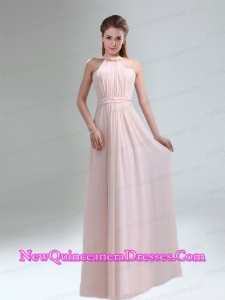 Romantic 2015 High Neck Chiffon Light Pink Dama Dresses
