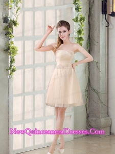 Sweetheart A Line Appliques Champagne Dama Dresses for 2015