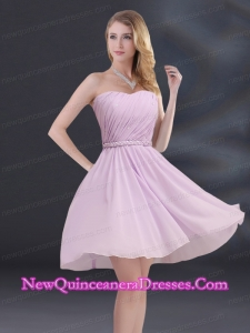 A Line Sweetheart Dama Dresses with Ruhing and Belt