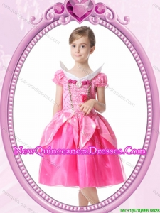 Beautiful A-line V-neck Knee-length Short Sleeves Halloween Little Girl Pageant Dress with Beading and Handcraft