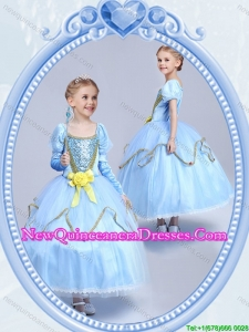 Halloween Cheap Hand Made Flower Short Sleeves Little Girl Pageant Dress in Light Blue