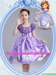 Halloween Fashionable Short Sleeves Lavender Little Girl Pageant Dress with Pattern and Bowknot